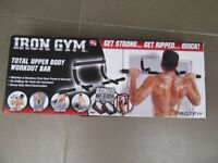 New in box Iron Gym Original Total Upper Body Workout Bar - Black