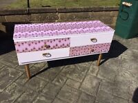 Sideboard, pink & gold, quirky , unusual , retro inspired ,