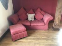 Three seater terracotta sofabed & footstool