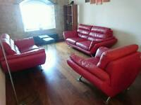 Red 3-piece suite from land of leather (2 sofas, 1 chair)