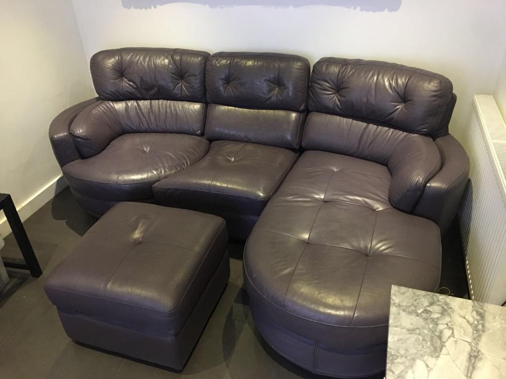 Leather Sofa Corner Shais In Purple In Lightwater