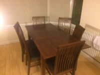 DARK REAL OAK TABLE AND CHAIRS SET SUPERB CONDITION.
