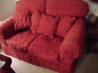 2 seater sofa in terracotta