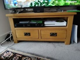 Solid oak TV cabinet stand