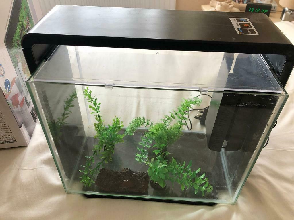 SuperFish Home 40 Aquarium Glass Fish Tank Black 40L with ...