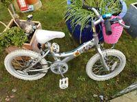 girls silver 16 inch wheel bike