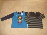 2 brand new tops size 9-12 months