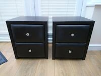 Pair of brown leather bedside tables