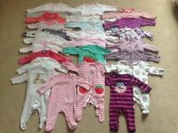 Big bundle of baby girl clothes 0-3 months great condition