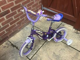 Girls bike with stabilisers. Excellent condition