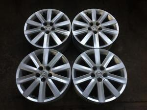 "4 MAZDA MAZDASPEED 18"" FACTORY ORIGINAL 10 SPOKE POWDER COAT SILVER MAGS"