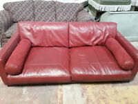 big red leather 2 seater sofa