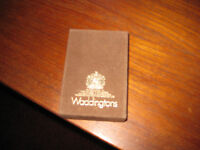 LOVELY SUEDE LIKE BOX OF UNOPENED WADDINGTONS PLAYING CARDS DEPICTING A LOWRY PAINTING