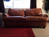 Quality real leather three seater John Lewis sofa