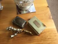 2 trinket boxes and brass dogs