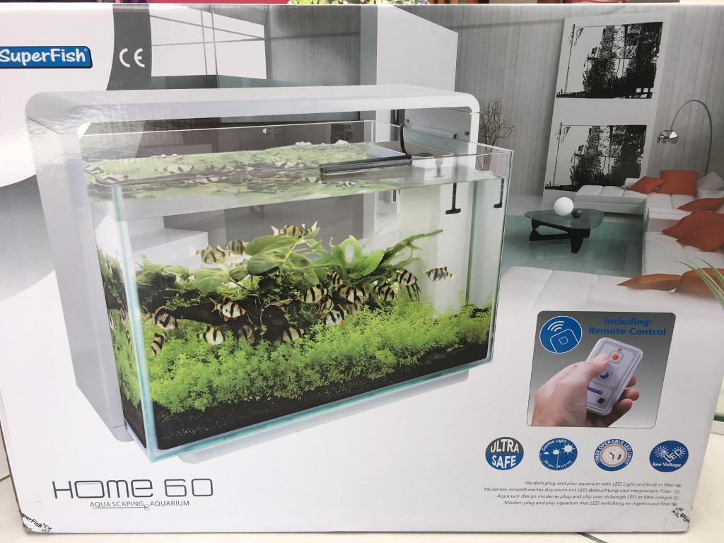 Superfish aquarium fish tank aqua 60 - Superfish Home 60 Contemporary Modern White Aquarium Tropical Fish Tank Image 1 Of 6