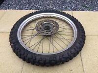 Pirelli road legal enduro tyre and wheel. Front.