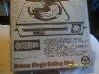 SINGLE BOILING RING 12 inches by 10 inches NEVER USED , STILL In IT's BOX 13 amp PLUG .