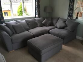 4 seater left hand Corner Sofa and footstool