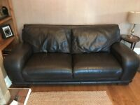 Brown leather 3 and 2 seater sofa with matching pouffe