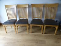 4 x oak chairs with brown seating, very good condition