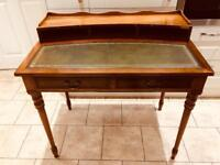 Green leather top writing desk. Vintage / antique style.
