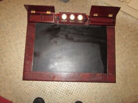 Classic vintage Wooden Desk Topper leather with three clocks – REF- 6.484kgheavy-XXXXXXap1snk4x