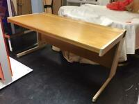 Allan Cooper double wooden desk and oval side table extension