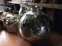 Mercury silver / gold antique style vases and candle holders