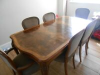 Vintage H EPSTEIN Dining table exstendable Burr walnut six chairs