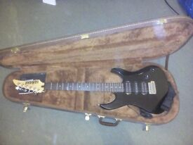 Yamaha black electric guitar with case