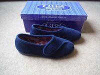 GBS Audrey Ladies Slippers Blue Velcro fastnening UK2 BNIB