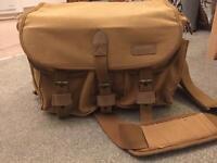 Brown satchel messenger bag camera equipment laptop etc