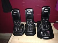 PANASONIC CORDLESS PHONES, SET OF 3, ANSWERMACHINE FEATURE, WORK PERFECT, GOOD CONDITION,