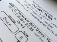 Suzanne Vega, Glasgow tickets less than face value