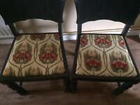 A pair of 1960's dining chair painted charcoal grey and reupholstered
