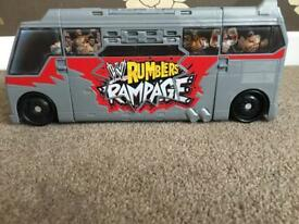 Rumblers rampage tour bus and wrestling ring