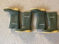 5 Pairs Wellies - Nearly New condition. 2 pairs Dunlop green wellies & 3 pairs Asda Black Wellies.