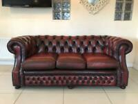 STUNNING CHESTERFIELD 3 SEATER CLUB SOFA IN AN OXBLOOD LEATHER