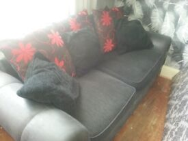 3 & 2 seater sofa vgc black cord and suede like material
