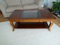 Cherry Coffee table with glass inset top