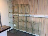 Glass shelving units