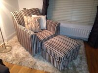 Stylish Arm Chair, Footstool & Matching Large Cushion £120 MUST GO THIS WEEKEND