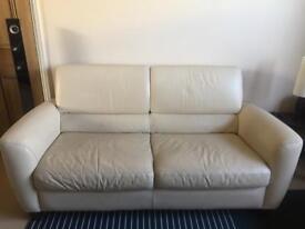 2 x 2-Seater Cream Leather Sofa Suite (Incl. Sofa Bed)