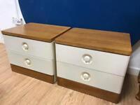 Pair of vintage teak & white bedside cabinets
