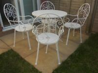 Vintage French white table and chairs