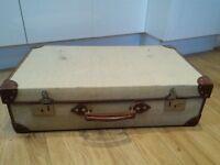 1982 Papworth Industries Vintage Beige Canvas & Leather Navy Demob Suitcase