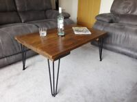 Coffee table, new, unused, reclaimed scaffold boards, hairpin legs