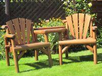 Rustic wooden garden companion seat