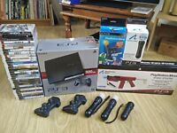 PS3 320gb Slim Bundle. Move, eye, pads and 30 games
